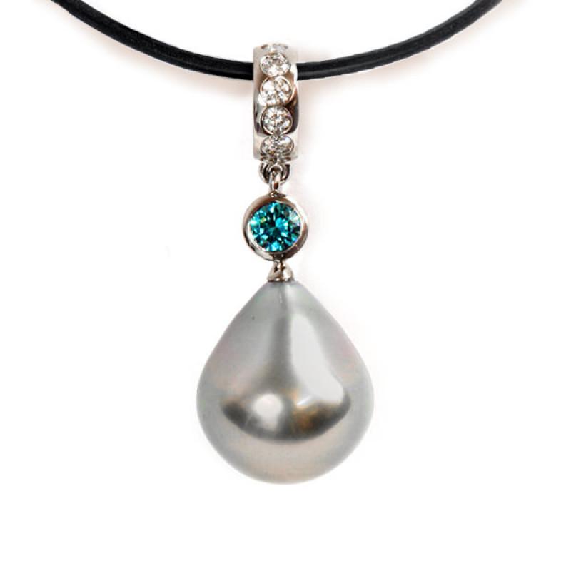 Anhänger Weissgold Diamant türkis (1005299.6)