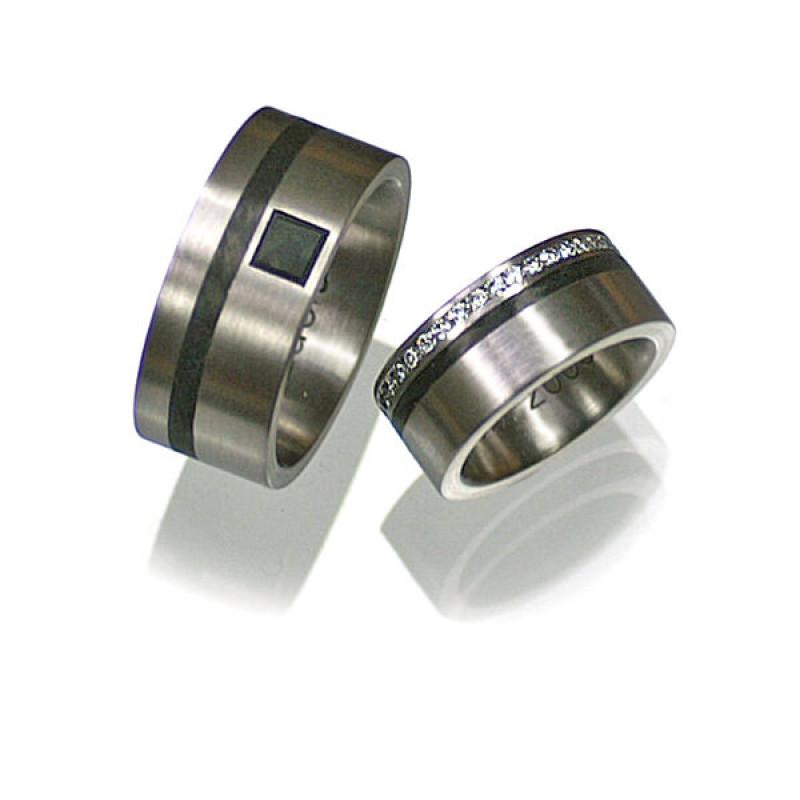 Eheringe Palladium Carbon Brillanten Diamant (1005414)