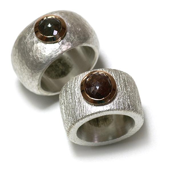 Eheringe Silber Rotgold Diamantrosen (1005716)