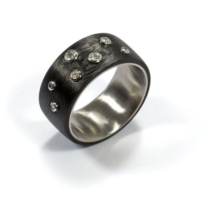 Damenring Sternenhimmel Stahl Carbon (1006069.2)