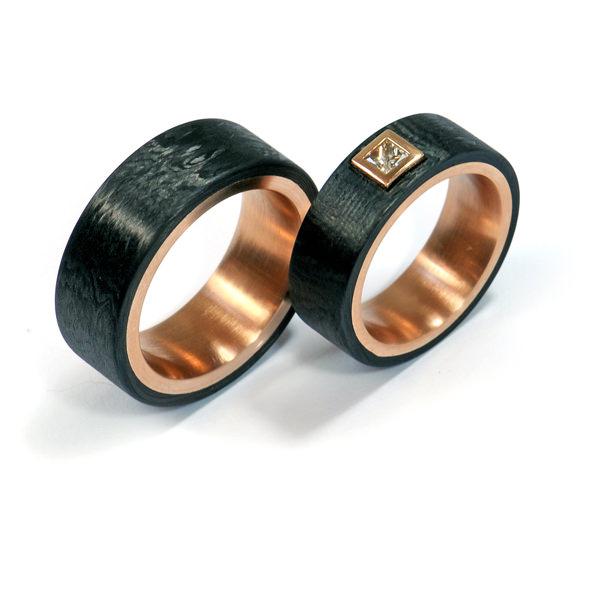 Eheringe Rotgold Carbon Diamant (1007222.1)