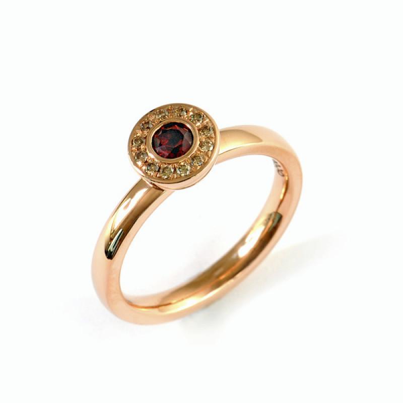 Verlobungsring Rotgold mit kleinen Brillanten Granat (1007816)