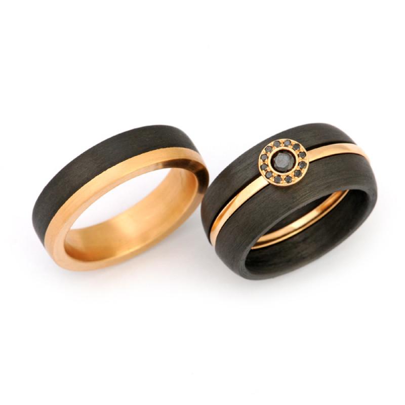 Verlobungsring mit Eheringen Roségold Carbon (1007833)