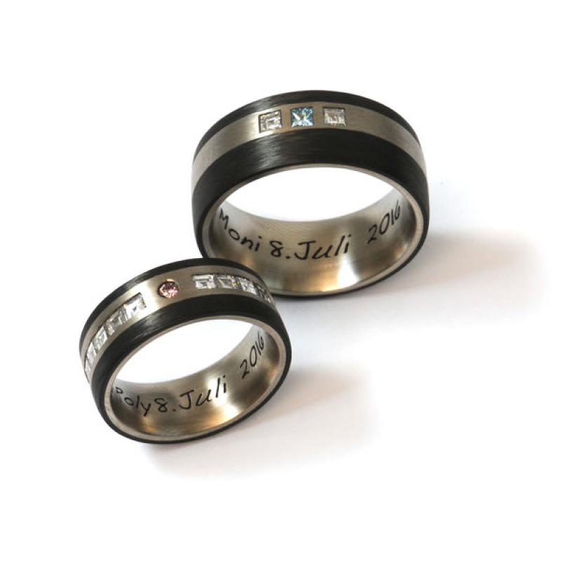 Eheringe Fairtrade Weissgold Carbon Diamanten (1007999)