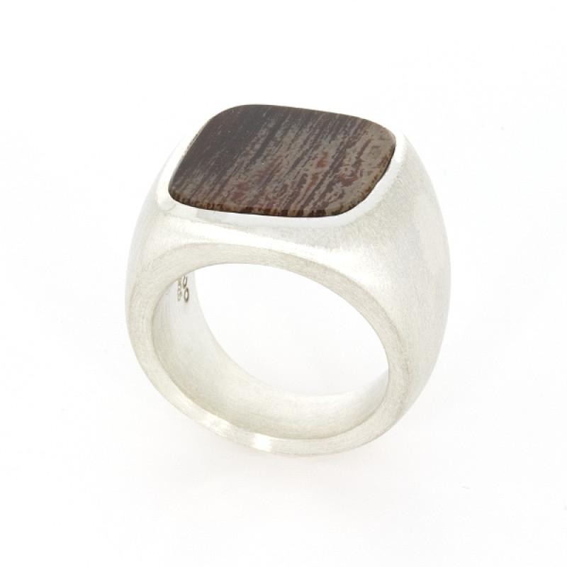 Ring Silber versteinertes Holz (1008329.1)