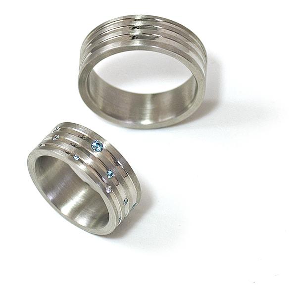 Eheringe Palladium mit Brillanten und Diamant (250022)