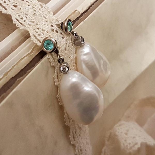 Ohrstecker Einhaenger Perle Palladium Brillanten(250080)