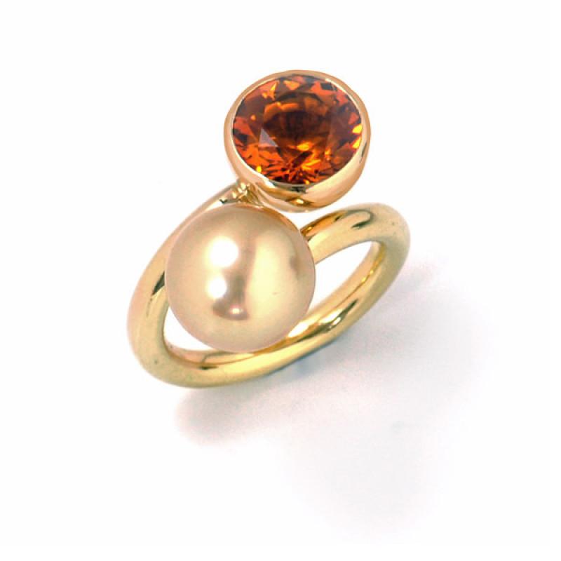 Ring Gelbgold Zitrin Südseeperle (250085)