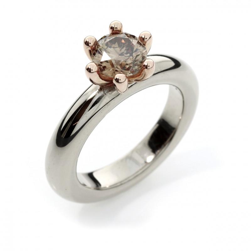 Verlobungsring Brillant Solitär Weissgold Rotgold (250806)