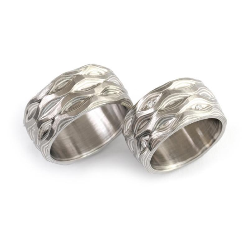 Eheringe Mokumegane Palladium Silber Brillanten (250854)