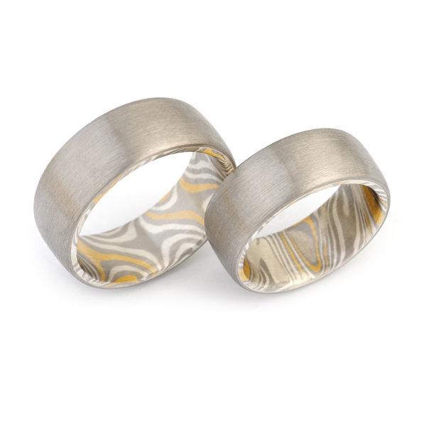 Eheringe Mokumegane Palladium Gelbgold Silber (250890)