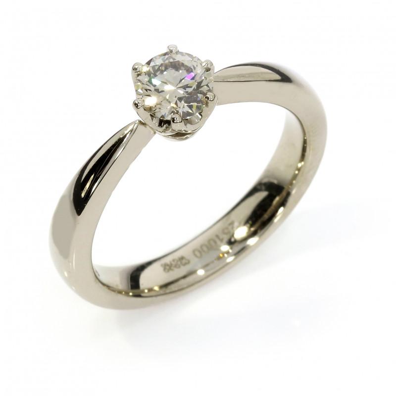 Verlobungsring fairtrade Weissgold grauer Brillant klassisch (251000)