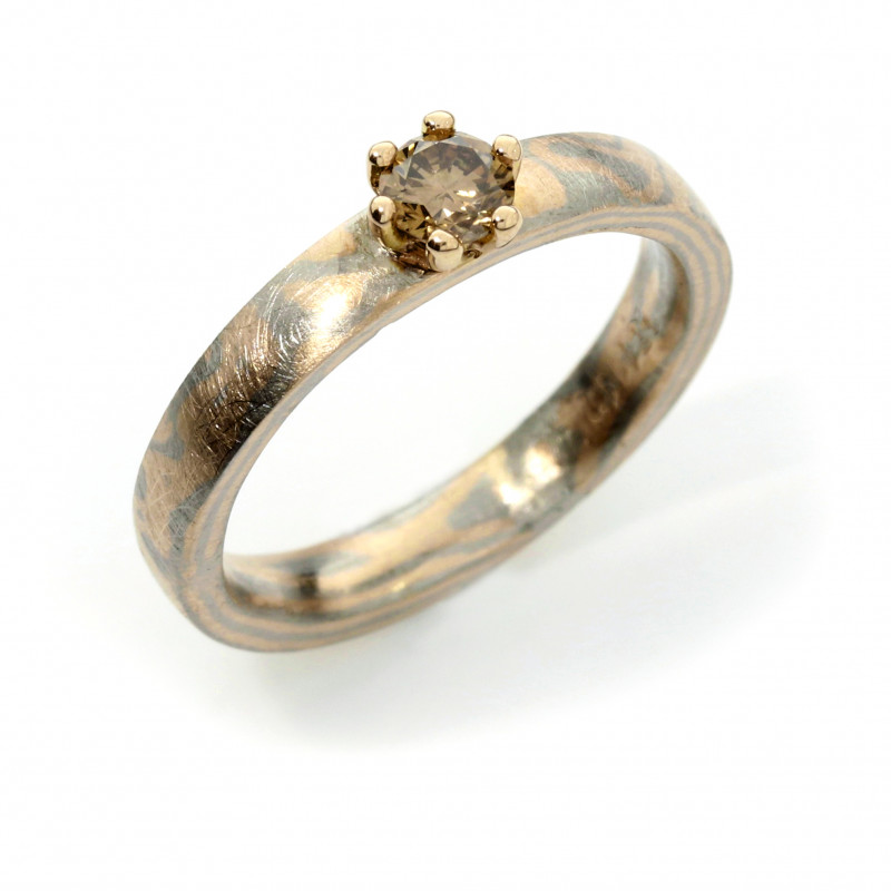 Verlobungsring Mokumegane  Palladium Rotgold mit Brillant in Grifffassung (251113)