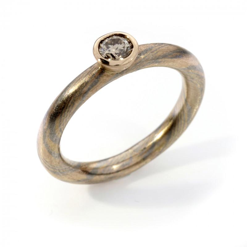 Verlobungsring Mokume Gane Rotgold Palladium champagner Brillant (251134)
