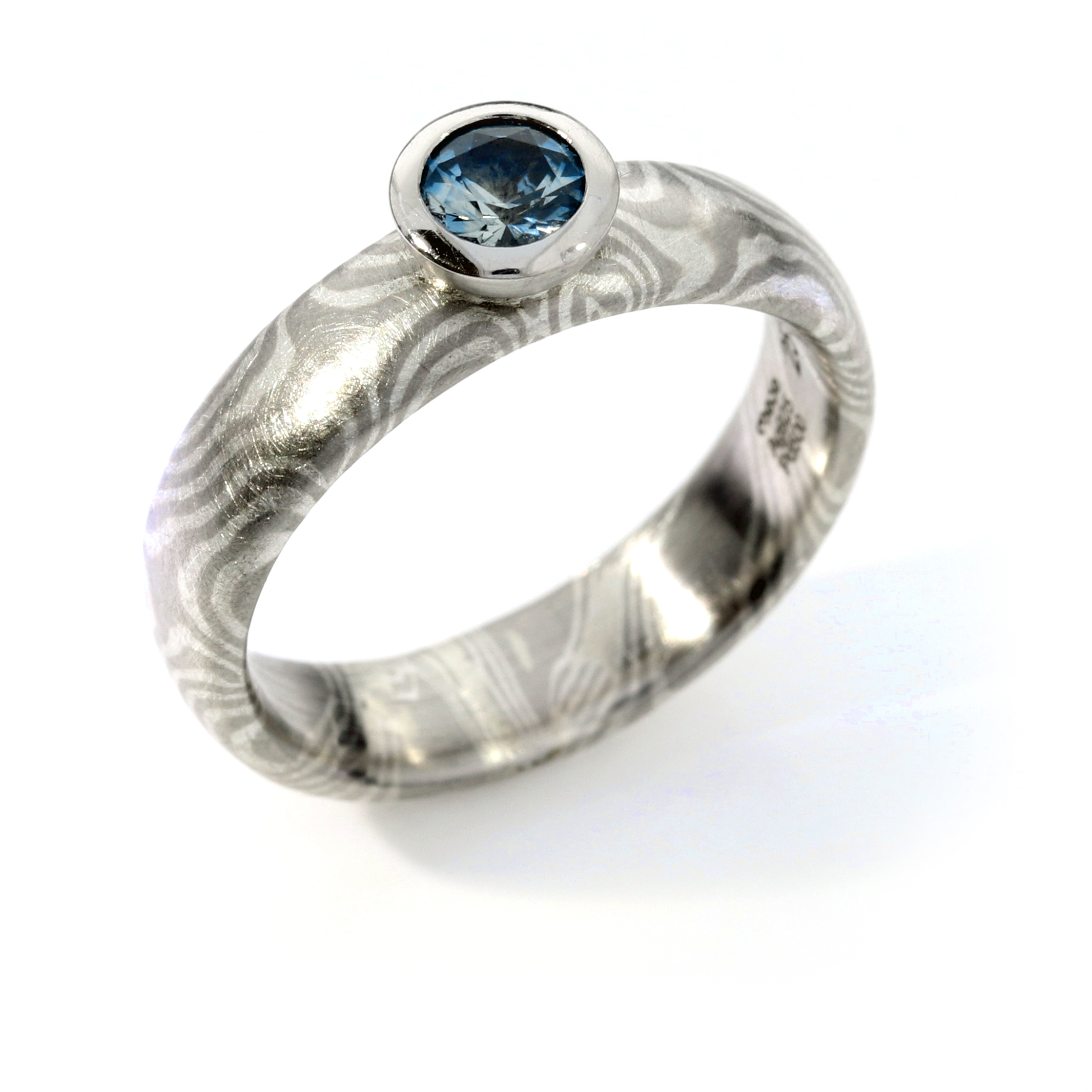 Verlobungsring Mokume Gane Silber Palladium Saphir (251144)