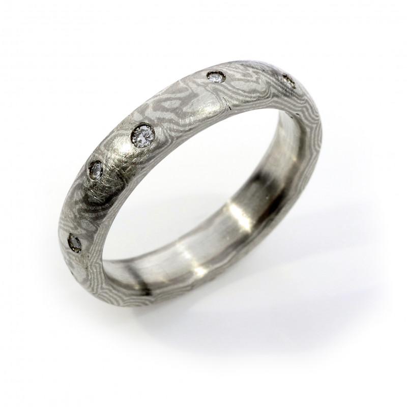 Verlobungsring Mokumegane Palladium Silber Brillanten (251155)