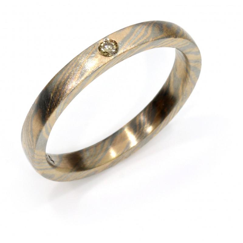 Verlobungsring Mokumegane Rotgold Palladium Brillant (251274)