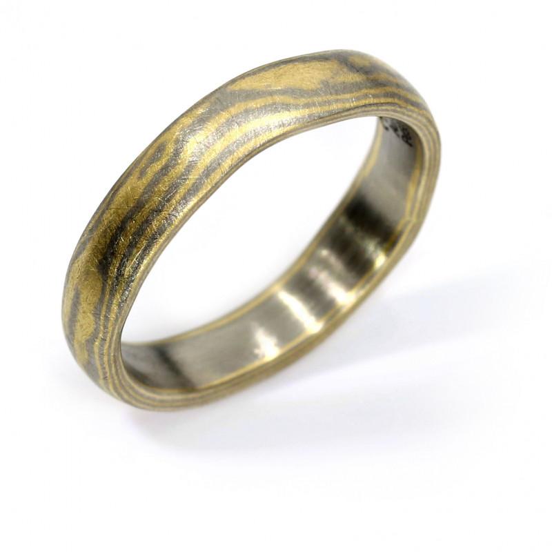 Verlobungsring Wellen Mokumegane Palladium Gelbgold (251298)