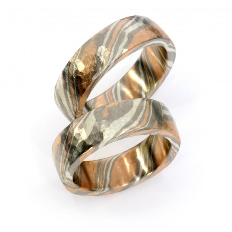 Eheringe Mokumegane Palladium Rotgold Silber (251330)